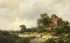 Wallpaper Landscape with the Ruins of the Castle Brederode in Santpoor, Andreas Schelfhout, oil, picture, tree