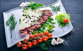 Wallpaper meal, cutting, salt, veal, italian, cheese, parmesan, greens, food, meat, mushrooms, sauce, tomatoes-cherry