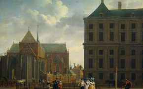 Picture oil, picture, canvas, the urban landscape, Isaac Ouwater, The unfinished tower of the New Church …