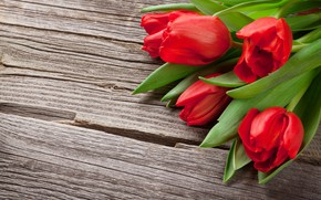 Picture flowers, bouquet, tulips, red, love, wood, flowers, romantic, tulips