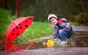 Picture autumn, rain, street, toy, child, umbrella, boy, jacket, rain, umbrella, boys, toys, child, glance