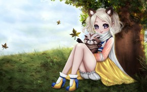 Picture girl, anime, art, badger, No Name