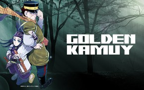 Picture look, background, girl, guy, scars, Golden Kamuy