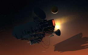Picture space, stars, fiction, planet, satellite, ships, art, spaceships