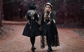 Wallpaper road, style, hats, two girls, in black, dresses, photographer Svetlana Nicotine, Mila Rogova, Kate Kartavtsev
