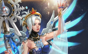 Picture winter, girl, holiday, new year, Christmas, angel, Dr., staff, overwatch, mercy, Angela Ziegler