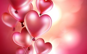 Picture balls, background, hearts