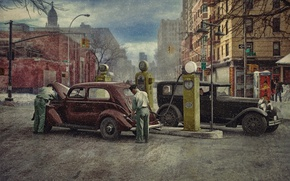 Picture winter, the city, retro, people, cars, gas station, 1930