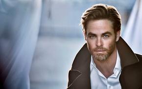Picture close-up, background, portrait, advertising, actor, shirt, coat, Chris Pine, bokeh, Chris Pine, 2016, Matthew Brookes, …