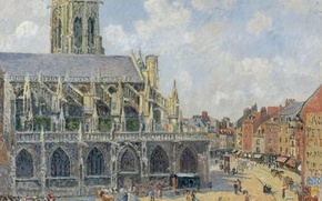 Picture Camille Pissarro, home, Church Of Saint-Jacques. Dieppe. The Morning Sun, the urban landscape, picture