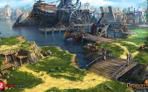 Picture bridge, the city, shore, ship, dragon eternity, sadarcapital port