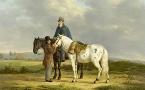 Picture tree, oil, picture, Anthony Oberman, Two horsemen in a Landscape