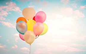 Picture summer, the sky, the sun, happiness, balloons, colorful, summer, sunshine, happy, balloon