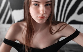 Picture look, macro, face, sweetheart, model, portrait, colors, freckles, light, red, beautiful, the beauty, shoulders, neckline, …