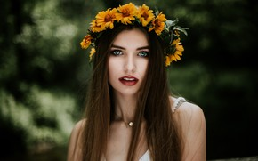Picture greens, look, flowers, background, portrait, makeup, hairstyle, brown hair, beautiful, wreath, bokeh, Ada, Vitold Petrovsky