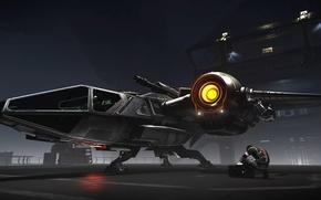 Wallpaper pilot, Drake Buccaneer, station, starship, Star Citizen