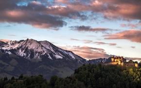 Picture mountains, castle, Gruyere