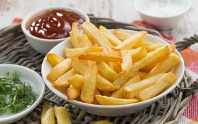Picture sauce, ketchup, potatoes, French fries, pan