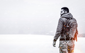 Wallpaper military, weather, loneliness, Blizzard, warrior, nature, snow, flame, the steppe, field, one, male, sparks, backpack, ...