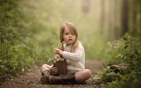 Picture boots, girl, flowers, sweater, tails, bucket