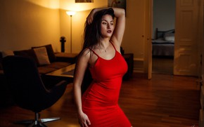 Picture sexy, room, model, makeup, figure, dress, brunette, hairstyle, is, in red, posing, bokeh, Misho Jovicic, …