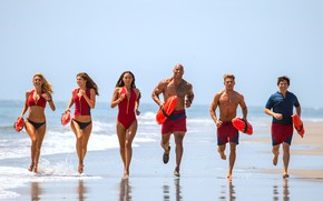 Wallpaper Baywatch, Dwayne Johnson, Alexandra Daddario, Alexandra Daddario, Mitch Buchannon, CJ Parker, Victoria Leeds, Dwayne Johnson, ...