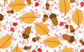 Picture background, Leaves, Texture, Acorns