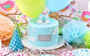 Wallpaper Birthday, Birthday, decoration, cake, balloons, Happy, cake