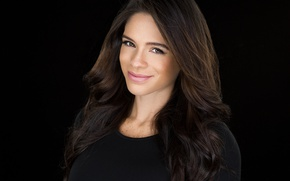 Picture look, smile, model, hair, black background, fitness, background black, fitness, Michelle Lewin, Michelle Lewin