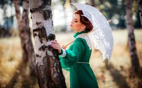 Picture girl, trees, pose, style, retro, umbrella, mood, dress, birch, Alexander, Olga Boyko