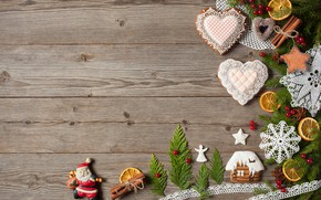 Picture decoration, berries, tree, New Year, cookies, Christmas, hearts, snowmen, fruit, nuts, Christmas, wood, hearts, Merry …