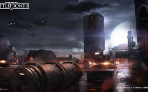 Picture clouds, ships, facilities, Star Wars Battlefront II, Bespin Chinook Station
