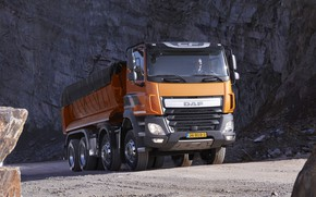 Picture orange, tent, body, primer, breed, DAF, DAF, quarry, dump truck, 8x4, Euro6, DAF CF 460 …