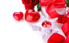 Picture flower, fire, gift, star, rose, candle, hearts, white background, red, Valentine's day, ribbon