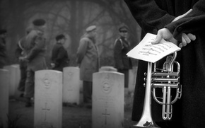 Picture notes, pipe, cemetery, musician, military, Memorial