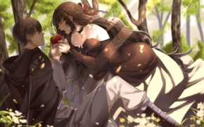 Picture girl, Apple, anime, art, guy, two