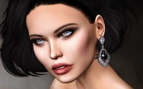 Picture girl, face, brunette, earring