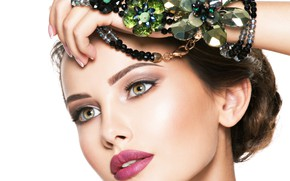 Picture look, girl, face, hand, makeup, hairstyle, beads, decoration