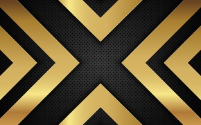 Picture line, metal, gold, black, background, arrow, metallic, shapes, perforated