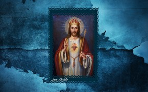 Picture texture, blue, crown, jesus christ, king, latin, rex, christianity, Jesu Christo