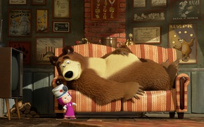 Picture sofa, cartoon, TV, Dr., Masha and the Bear