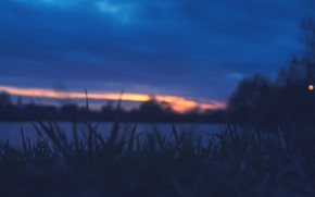 Picture sunset, lake, Clouds, The evening, Grass