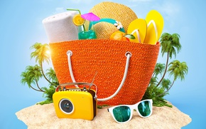 Wallpaper tropics, the sun, summer, camera, figure, hat, cocktail, bag, bag, Tropics, glasses, hat