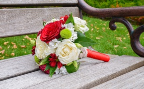Picture bouquet, red, white, flowers, roses, red roses, wedding, wedding bouquet