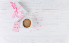 Picture love, gift, Cup, hearts, love, heart, pink, cup, romantic, gift, coffee, with love, tender