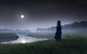 Wallpaper girl, night, the moon, mood, river