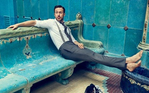 Picture bench, barefoot, tie, actor, shirt, sitting, photoshoot, pants, Ryan Gosling, Ryan Gosling, Craig McDean
