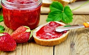 Picture strawberry, jam, bread