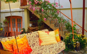 Picture Sofa, Flowers, Pillow, Yard