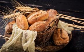 Picture wheat, basket, spikelets, bread, cakes, bokeh, gauze